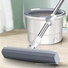 Waketm Floor Cleaning Flat Stick and Bucket 360 Magic Spin PVA High Absorbent Aluminium Sponge Mop