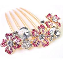 Pétalas geométricos coloridos zinco liga cabelo pente ornamentos
