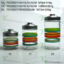 Großhandel Machine-Moulded Glass Storage Flasche Set Hand Painting Strip