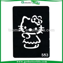 11 * 8cm reutilizable brillo tatuajes plantillas Hello Kitty diseños de tatuaje de gatos