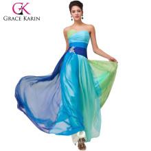 Grace Karin Elegant Design Ombre Strapless Sweetheart Chiffon Long Plus Size Prom Dress CL6069-1#
