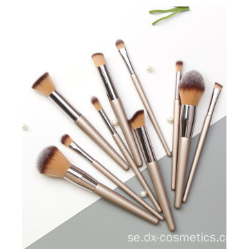 10-delar Champagne Gold Makeup Brushes Suit