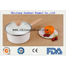 Enamel Cookware Milk Pot with Transparent Cover