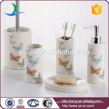 Atacado eco-friendly cerâmica borboleta design banheiro acessórios