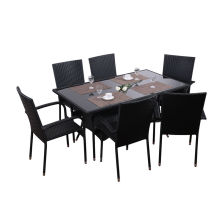 7pc steel rattan dining set