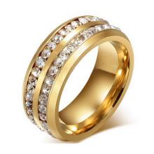 8mm titanium 18k banhado a ouro de aço inoxidável de alta polido canal set cz anel de noivado