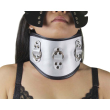 Silver High quality Sex Neck Ring Neck Collar Sm Necklace Adult Sm Toys Female Collar in Leather