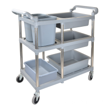 Fiive Buckets Plastic Collection Cart