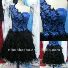 Flirt One Shoulder Embriodery Applique Colonne Feather Jupe Beaded Mini fermeture à glissière Clôture Graduation Dress Homecoming Gown