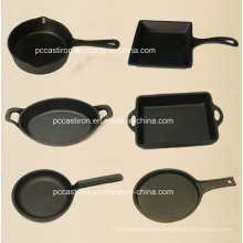 Utensilios de cocina de hierro de gato pretemporada