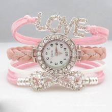 Alta qualidade nova moda Wrap Around pulseira relógio bowknot cristal mulheres pulseira de couro Wristwatches CBW002