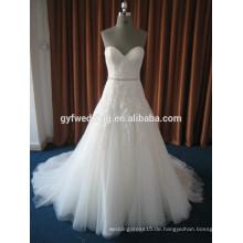 China Elegante schiere Schulter Vestidos De Noiva Spitze Appliqued Perlen Taille Schatz Brautkleid 2016 15026-3
