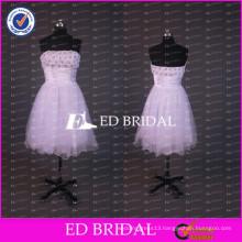 ED Bridal Lovely Beaded Strapless A Line Tulle Short White Prom Dresses With Ribbon Sash