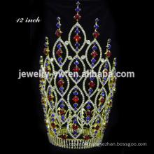 Fashion Pink Crystal Crown Large Pageant Tiara Crown Pink Tiara jewelry tiara