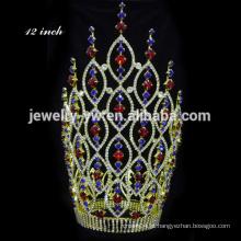 Moda coroa de cristal rosa Coroa Grande tiara coroa tiara rosa Tiara jóias