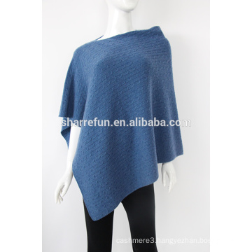 wholesale high quality plain solid color cashmere poncho shawl