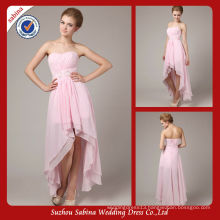 5974 Elegant high low puffy chiffon see through corset pregnant prom dresses