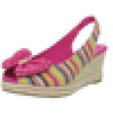 2015 Latest Design fashion sexy girls high heel woman stripe shoe wedge sandal shoes