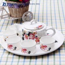 water lily design bone china kongfu tea set beautiful design wholesale Ceramic chinese style