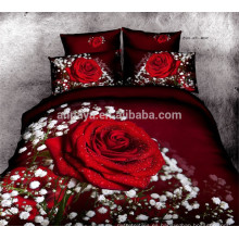 100% algodón cubrecama 3D Red Rose diseño de ropa de cama de China al por mayor