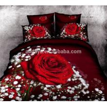 Couvre-lit 100% coton 3D Red Rose Design Literie Set Chine Wholesale