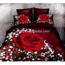 100% colcha de algodão 3D Red Rose conjunto de cama de design China Wholesale