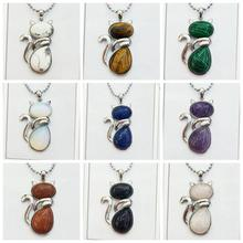 tone Pendant Cat Healing Crystal Necklace Animal Energy Chakra Amulet Handmade Jewelry for Women