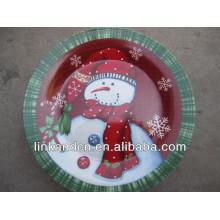KC-02541wholesale ceramic christmas snowman plates,funny round flat pizza/cake plates