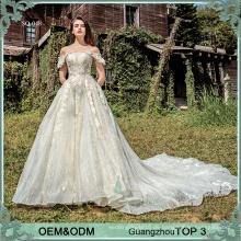 Luxus-Stil Champagner Tüll Spitze appliqued aus Schulter Hochzeitskleid für Braut