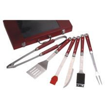 5pcs BBQ tool set with wood handle