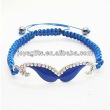 2014 pulsera tejida al por mayor del shamballa pulsera tejida alambre azul azul del bigote de Diamante