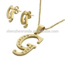 Conjuntos jóias earing e colar de ouro 18K banhado em aço inoxidável G cartas terno