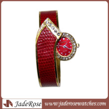 Promotional Alloy Diamond Watches for Lady Leather Strap Alloy Diamond Watches