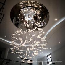 Custom villa hall palace swan shape pendant light