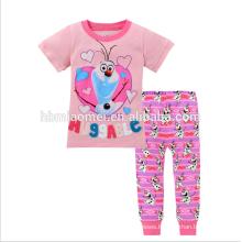 New Fashion Printed Short Sleeve Girl Kids Cotton Sleepwear Suits Childrens Pajamas Wholesale