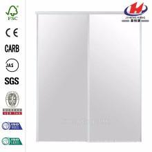 96 in. x 80 in. Brittany Steel White Mirrored Sliding Door