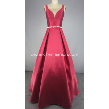 Y Neck Brautjungfer Kleid mit Perlen Bund