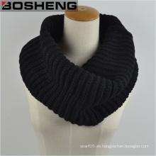 Unisex bufanda de punto negro, grueso cálido tejido de punto Círculo Infinity bufanda