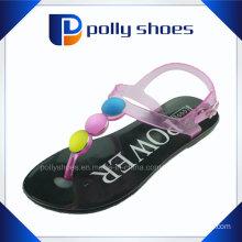 2016 New Women′s Rhinestones Open Toe Flat Casual Sandal