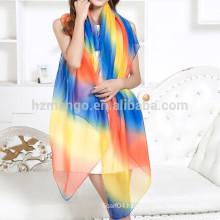 Wholesale cheap chiffon infinity rainbow scarf