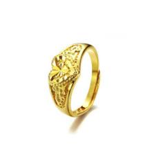 Handgemachte hohe polierte Größe einstellbar vergoldet Kupfer Hochzeit Herz Ringe