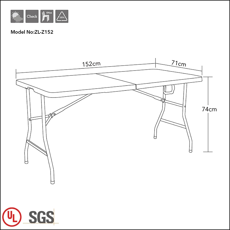 Outdoor Folding Table with Steel Frame