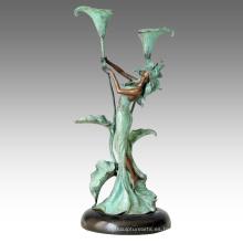 Candelabro estatua niña de las flores Candelabro escultura de bronce Tpch-067/068