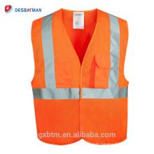 Orange Hi Vis Gilet de Sécurité Réfléchissant Gilets Poches Haute Réfléchissante Avertissement Gear Stripes Veste Gilet En Plein Air