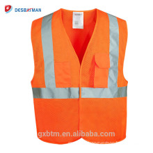 Orange Hi Vis Reflective Safety Waistcoat Vests Pockets High Reflective Warning Gear Stripes Jacket Vest Outdoor