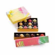 Gold Chocolate Cardboard Packaging Paper Box with Ribbon