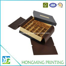Gold Logo Embossing Fancy Chocolate Box with Plastic Divider