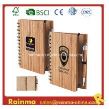 Спиральный бамбуковый ноутбук с бамбуковой ручкой
