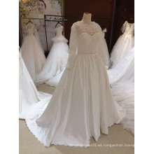 Vestido de Baile de Manga Larga 395 Satén de encaje de Tulle Dos en un vestido de novia