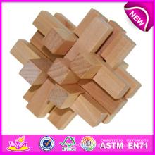 Kong Ming Lock Puzzle Jouet en bois pour enfants, Lock en bois éducatif Puzzle Toy Skyscrape pour enfants, jouet en bois Lock W03b025